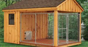 wooden outside kennel with shelter and roof