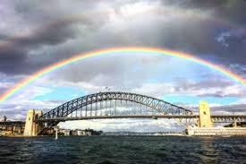 rainbow over bridge